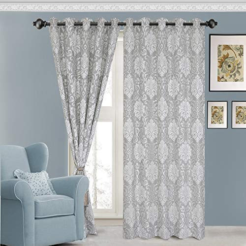 Urban Hues Polyester Jacquard Window, Door Curtains-Grey