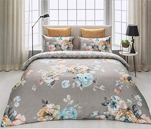 D'Decor Cotton Comfort 150 TC Double Bedsheet with Pillow Covers - Silver Blue