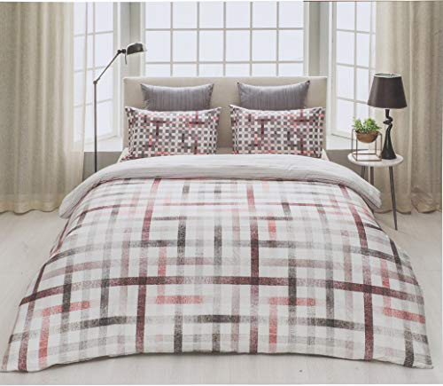 D'Decor Cotton Comfort 150 TC Double Bedsheet with Pillow Covers - Mineral Red
