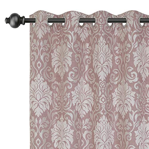 Urban Hues Polyester Jacquard Window, Door Curtains-Rose Blush