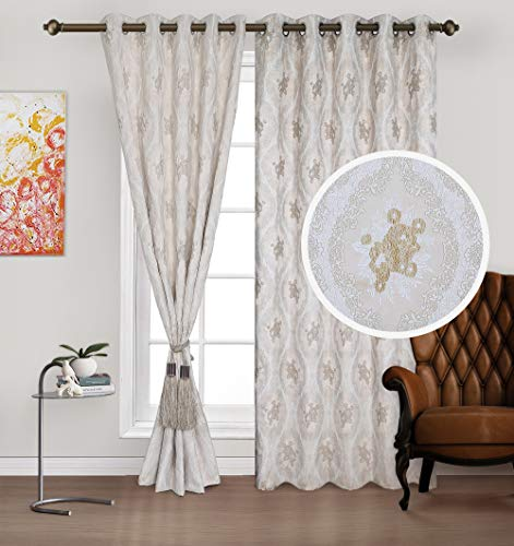 Urban Hues Eyelet Polyester Jacquard Fabric Window/Door Curtains (7 ft ; Cream)