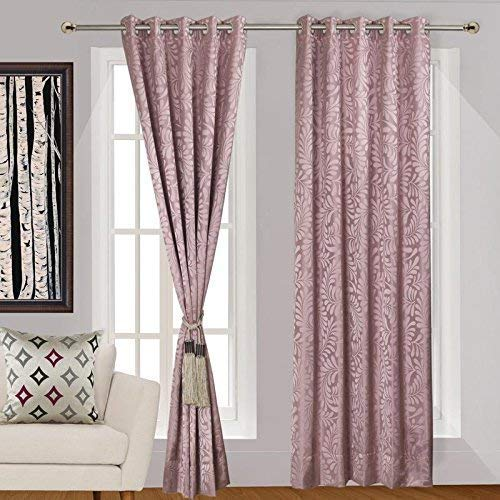 Urban Hues Polyester Jacquard Window, Door Curtains-Pink