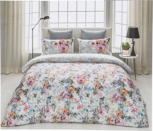 D'Decor Cotton Comfort 150 TC Double Bedsheet with Pillow Covers - Morning Glory