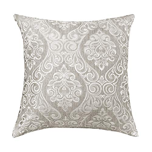 Urban Hues Designer Jacquard Decorative Throw Pillow Covers (16x16 Inch, Grey)