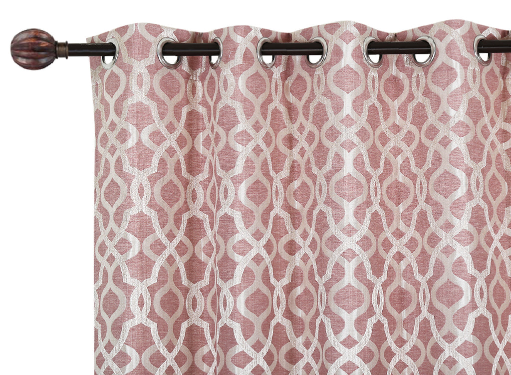 Urban Hues Polyester Jacquard Window, Door Curtains-Rose Gold