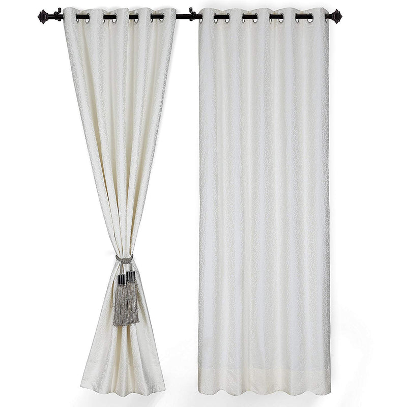 Urban Hues Eyelet 1 Piece Polyester Jacquard Fabric Window, Door Curtains -White