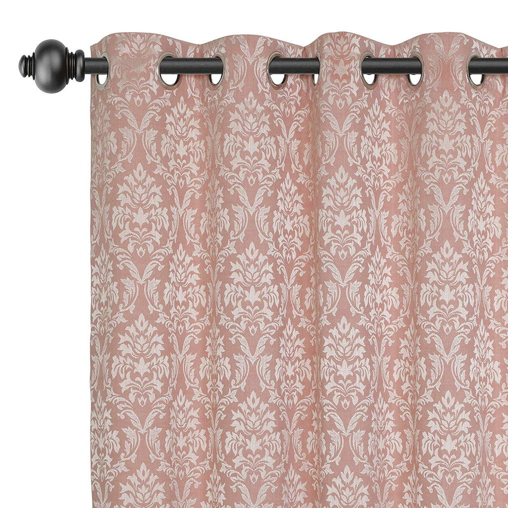Urban Hues Eyelet 1 Piece Fine Quality Polyester Jacquard Fabric Window, Door Curtain (Rose Gold)