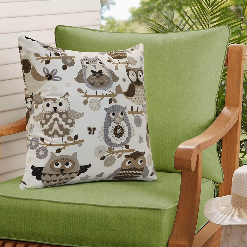 Urban Hues 100% Cotton Kid's Cushion Cover-1 pc (Cartooon Owl, Brown-White)
