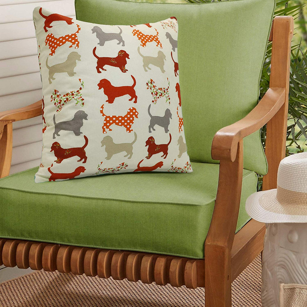 Urban Hues 100% Cotton Kid's Cushion Cover-1 pc (Dachshund Pet, Red-Multi)