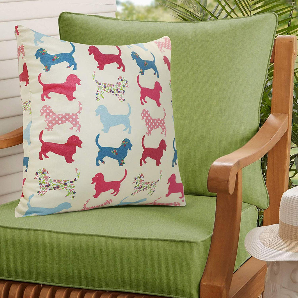 Urban Hues 100% Cotton Kid's Cushion Cover-1 pc (Dachshund Pet-Multi, Multi)