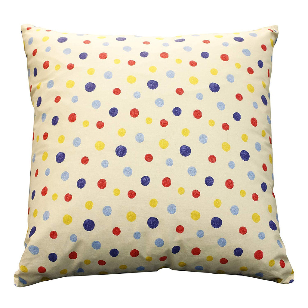 Urban Hues 100% Cotton Kid's Cushion Cover-1 pc (Dotted Print-Blue, Blue)