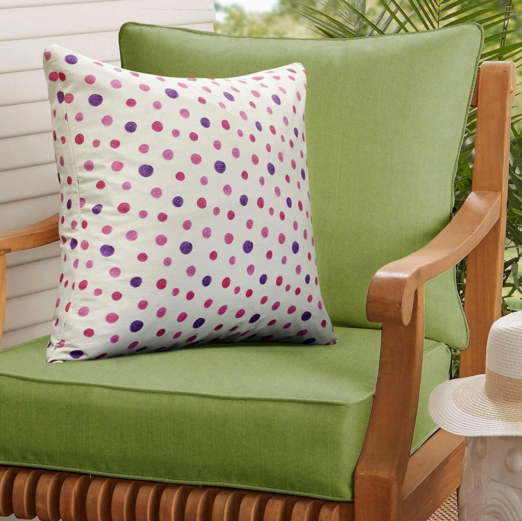 Urban Hues 100% Cotton Kid's Cushion Cover-1 pc (Dotted Print, Purple-Multi)
