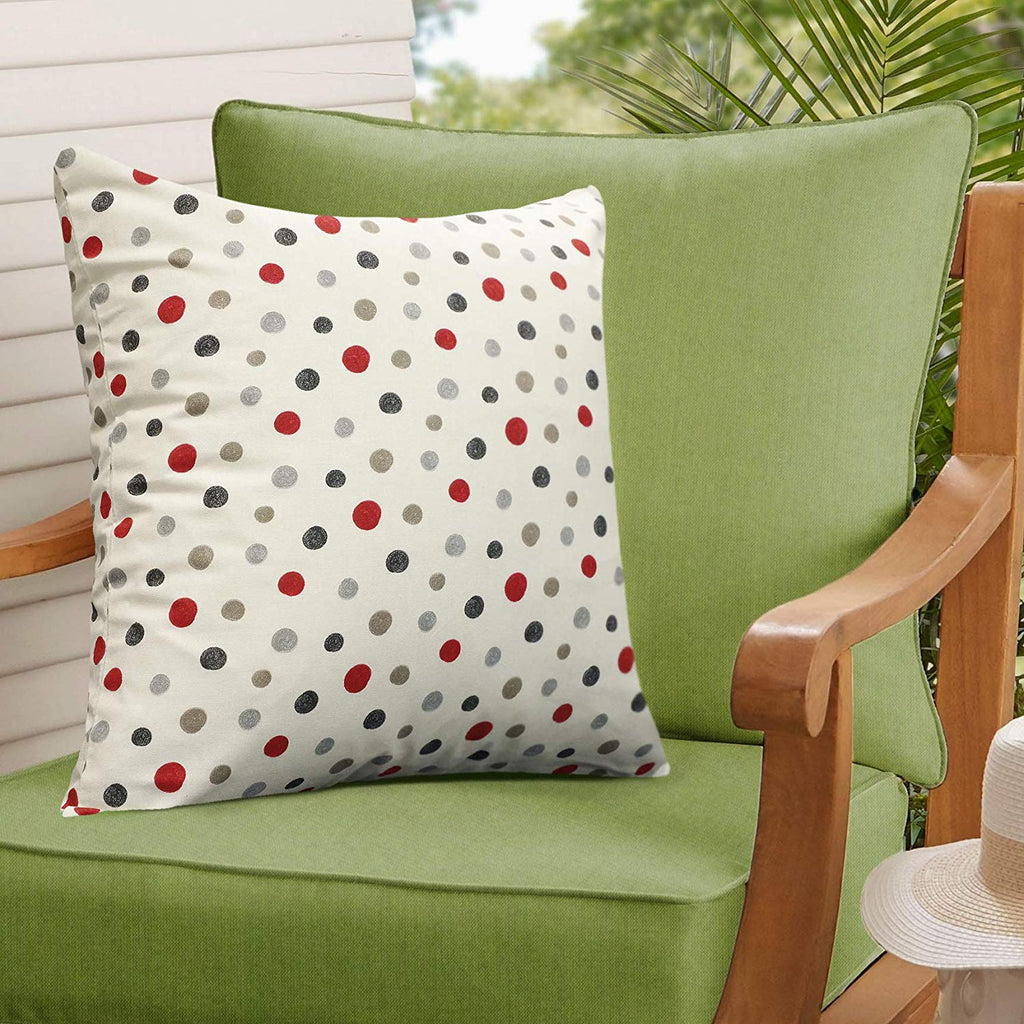 Urban Hues 100% Cotton Kid's Cushion Cover-1 pc (Dotted Print-Red, Red)