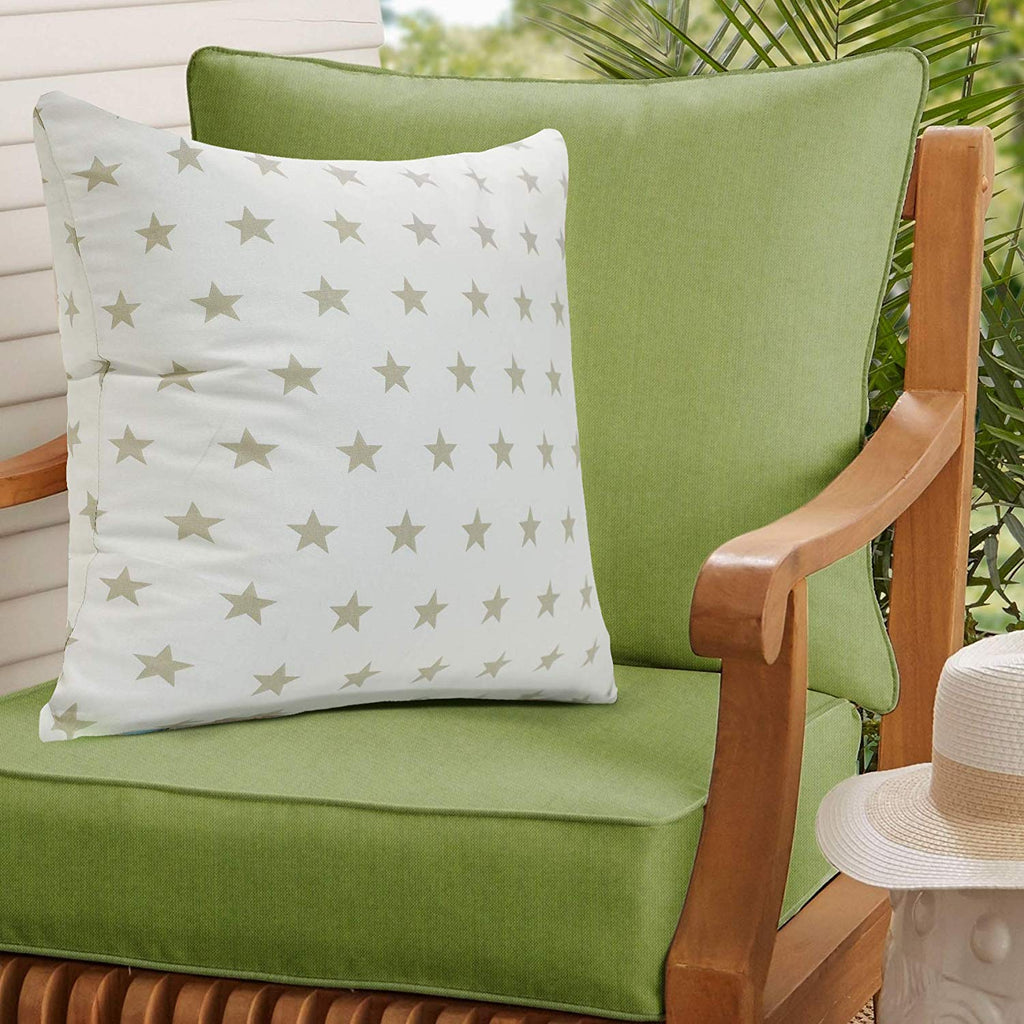 Urban Hues 100% Cotton Kid's Cushion Cover-1 pc (3D Star-Beige, White-Beige)