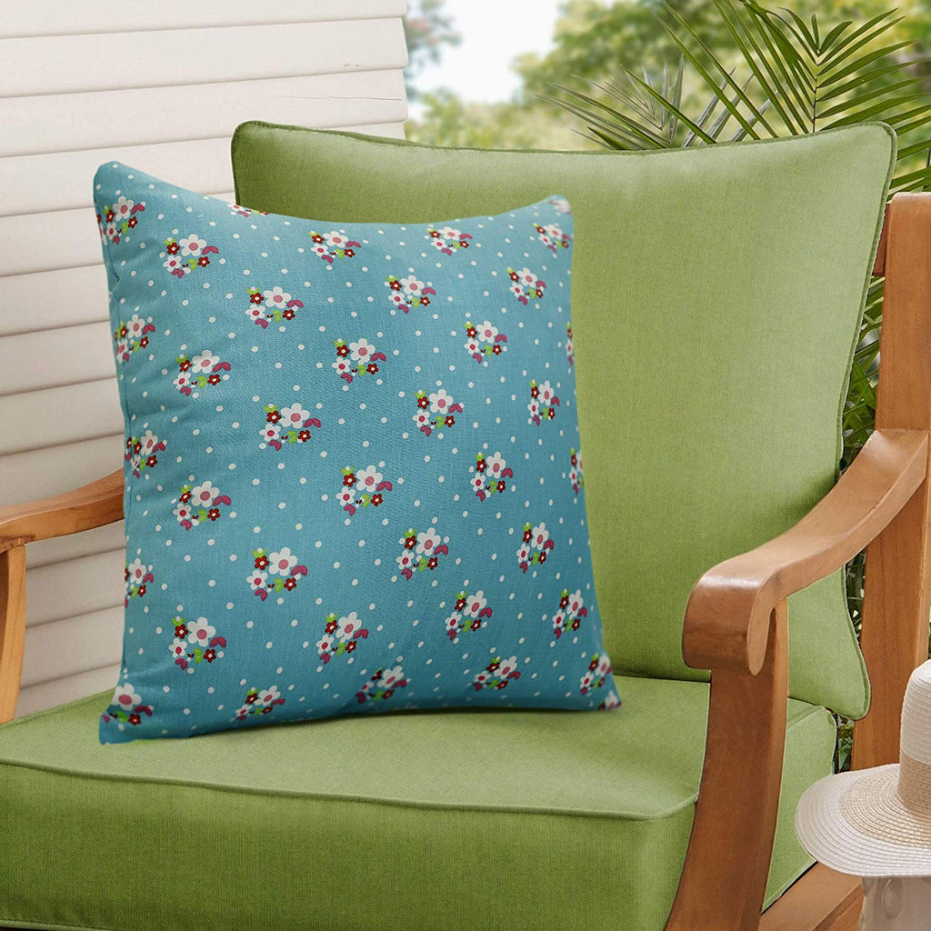 Urban Hues 100% Cotton Kid's Cushion Cover-1 pc (Flower, Sky Blue)