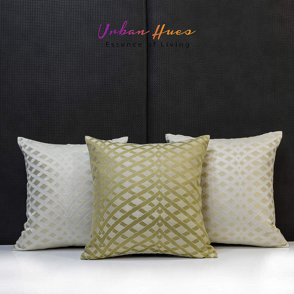 Urban Hues Decorative Throw Pillow/Cushion Covers (16 x 16 inch)-Set of 3 (Cream-Beige, 16x16 Inch)