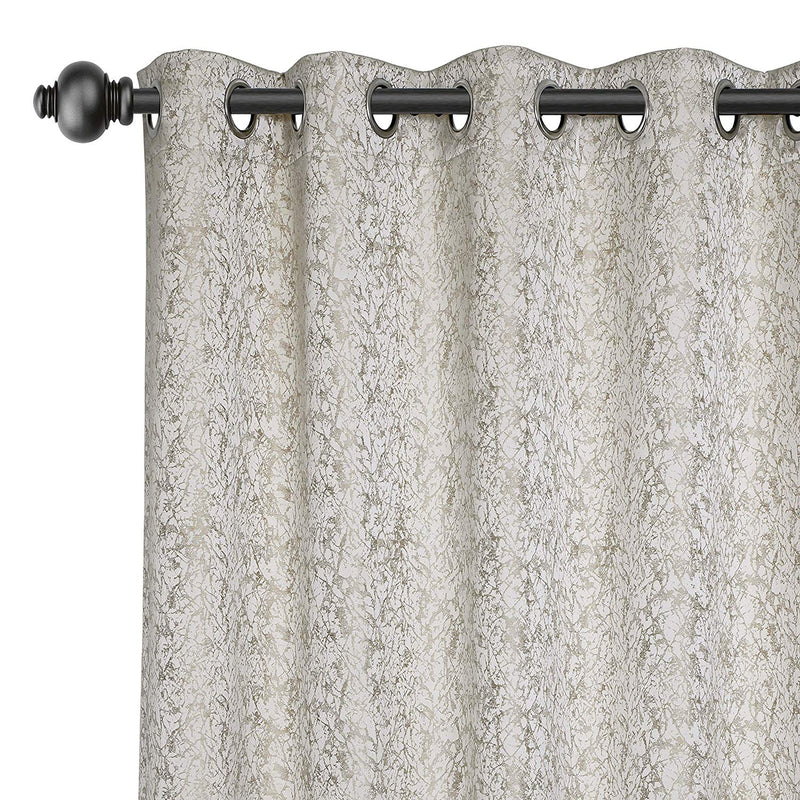 Urban Hues Eyelet 1 Piece Fine Quality Polyester Jacquard Fabric Window, Door Curtain - Beige