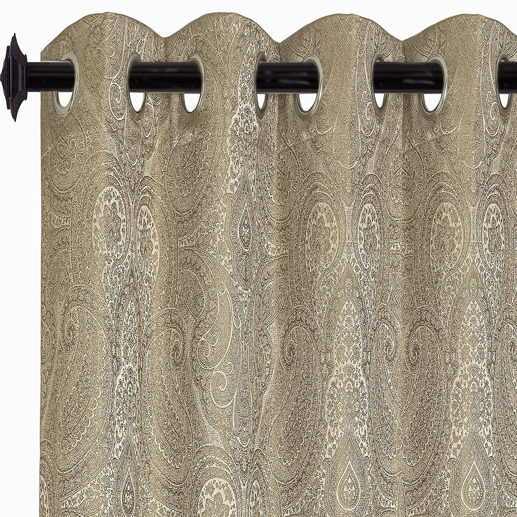 Urban Hues Polyester Eyelet Jacquard Fabric Window; Door Curtains (Brown; 5 ft)