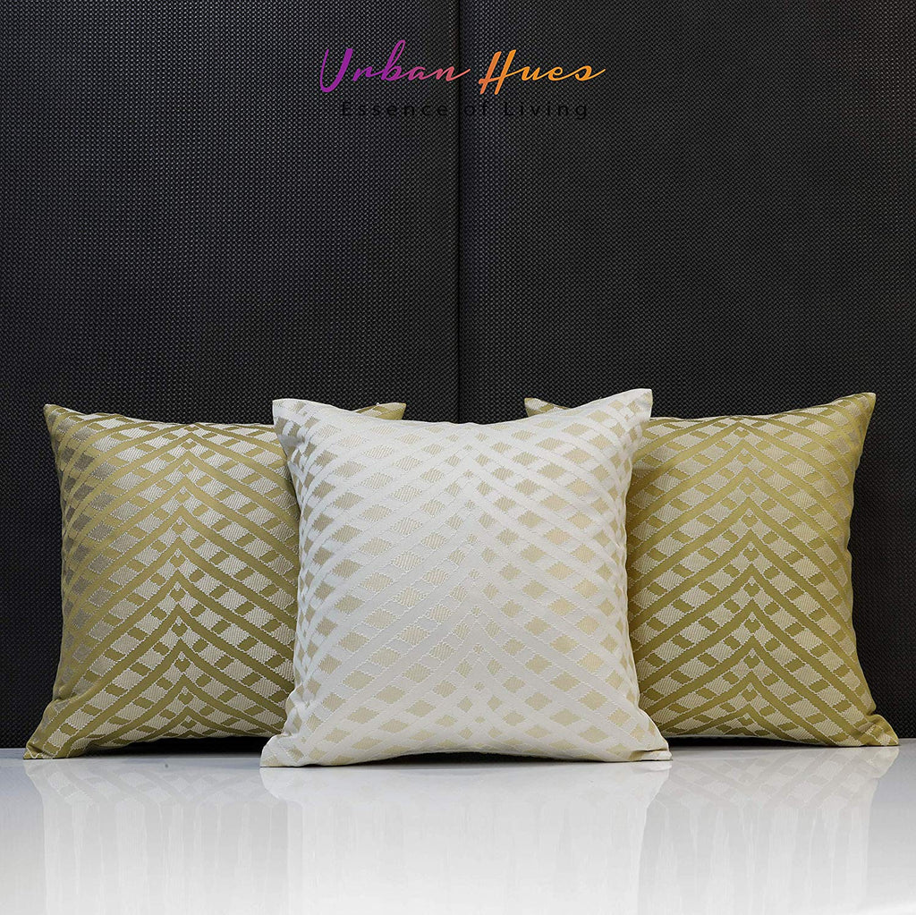 Urban Hues Decorative Throw Pillow/Cushion Covers (16 x 16 inch)-Set of 3 (Golden-Brown, 16x16 Inch)