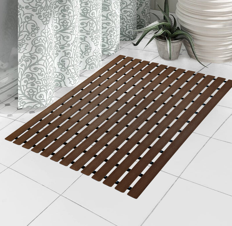 Urban Hues Plastic Skid Proof Anti Slip Shower Mat (24x18 inch) (Brown)