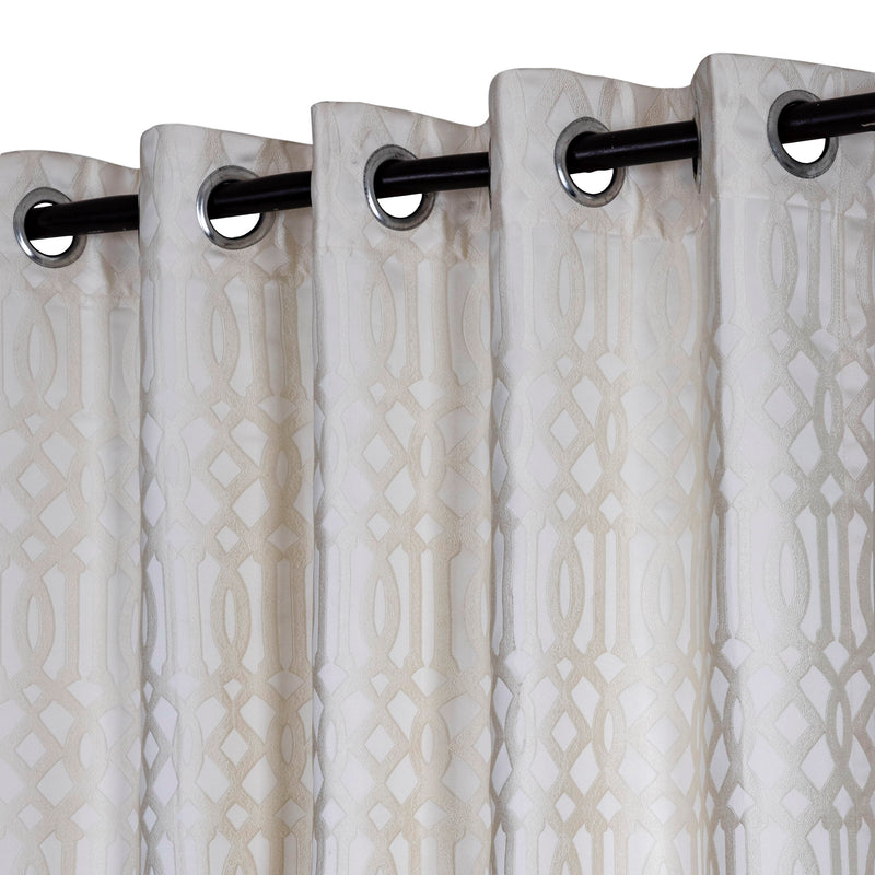Urban Hues Polyester Jacquard Window, Door Curtains-Cream