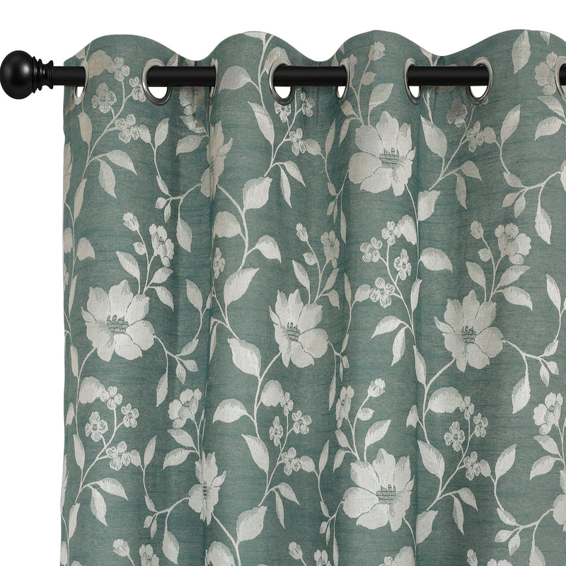 Urban Hues Polyester Jacquard Window, Door Curtains-Mint