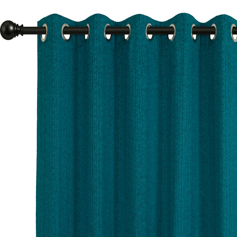 Urban Hues Eyelet Polyester Jacquard Fabric Window, Door Curtain-Turquoise