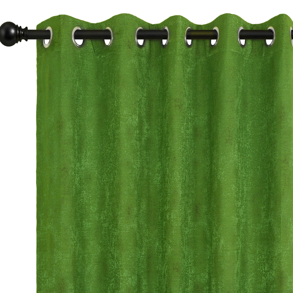 Urban Hues Eyelet Polyester Jacquard Fabric Window, Door Curtain-Green-Distressed