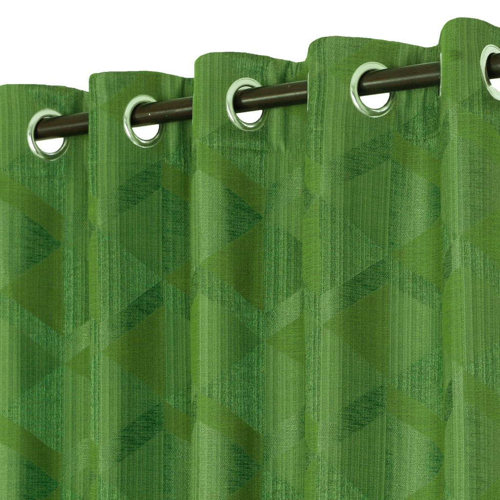 Urban Hues Eyelet Polyester Jacquard Fabric Window, Door Curtain-Green-Canvas