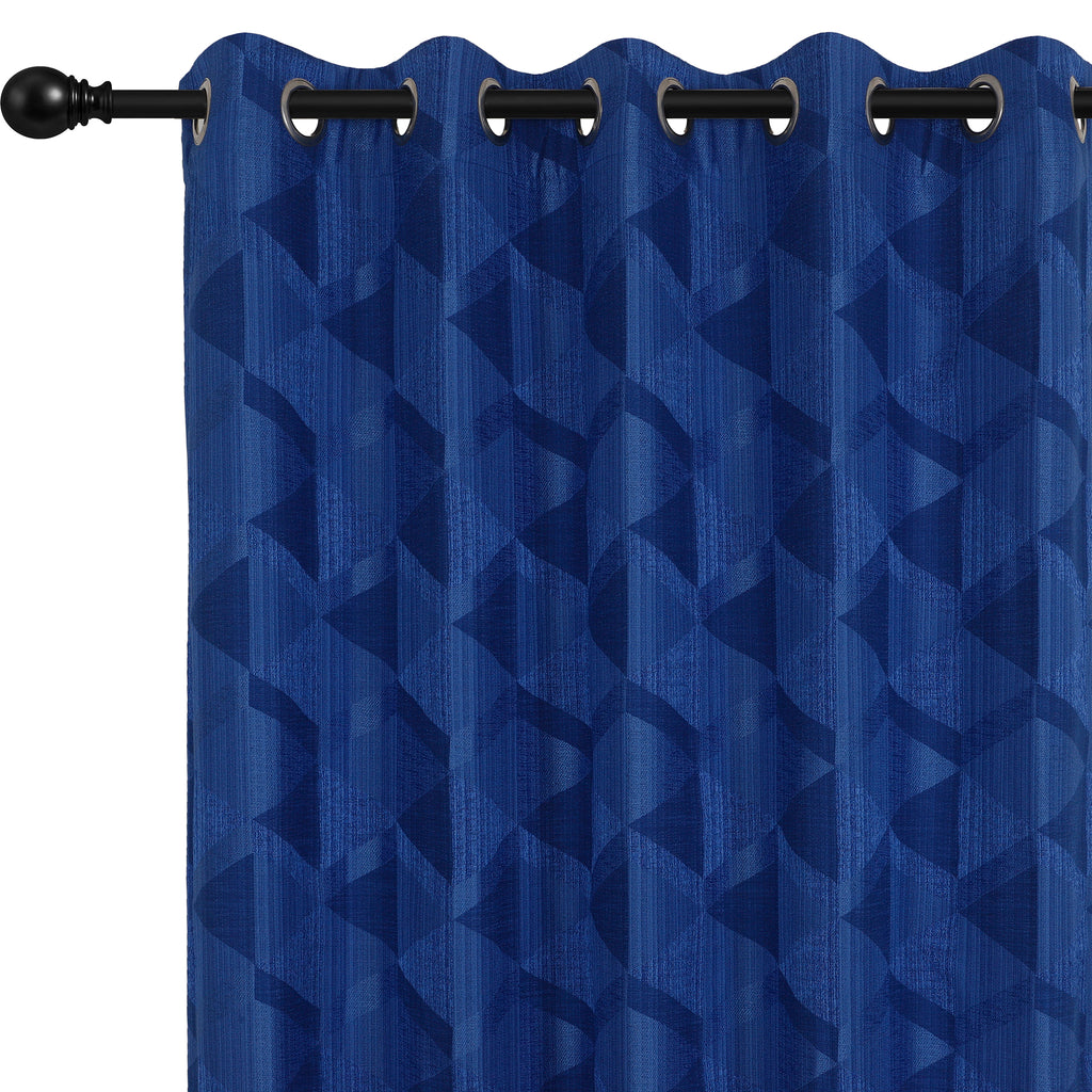 Urban Hues Eyelet Polyester Jacquard Fabric Window, Door Curtain-Blue-Canvas