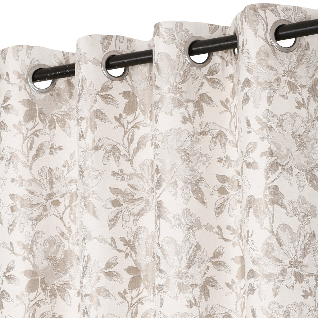 Urban Hues 1 Piece  Window, Door Curtains -(Beige-Floral)