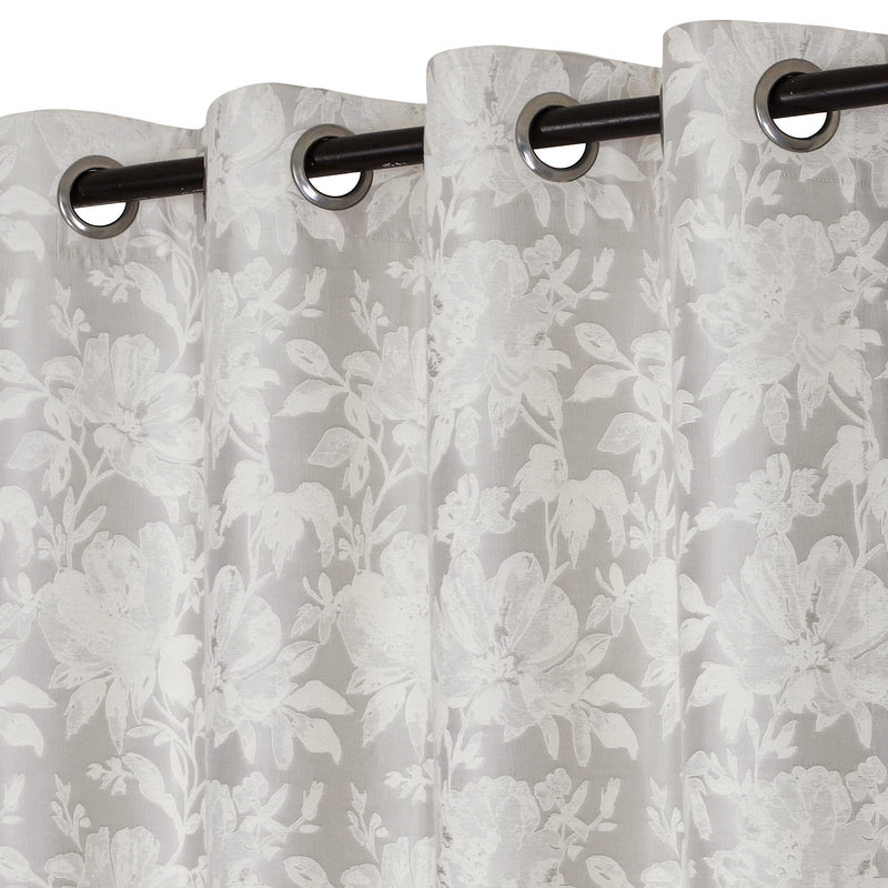 Urban Hues 1 Piece  Window, Door Curtains -(Off White-Floral)