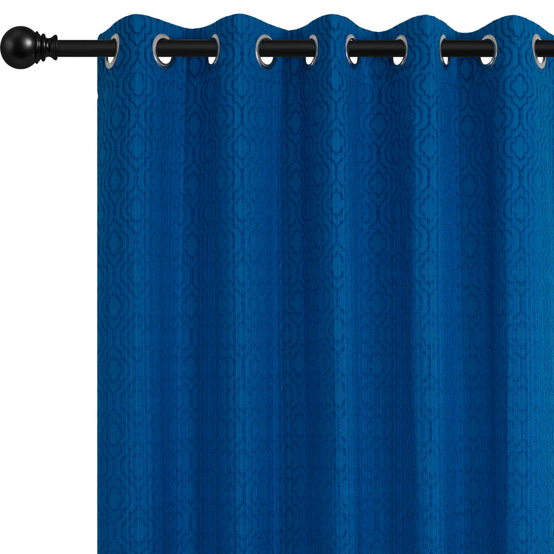 Urban Hues Eyelet Polyester Jacquard Fabric Window, Door Curtain-Sky Blue-Moroccan