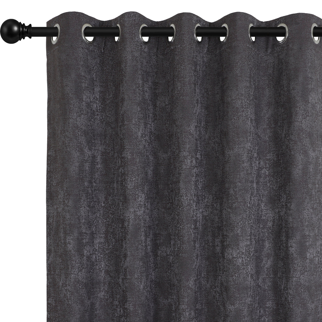 Urban Hues Eyelet Polyester Jacquard Fabric Window, Door Curtain-Grey-Distressed