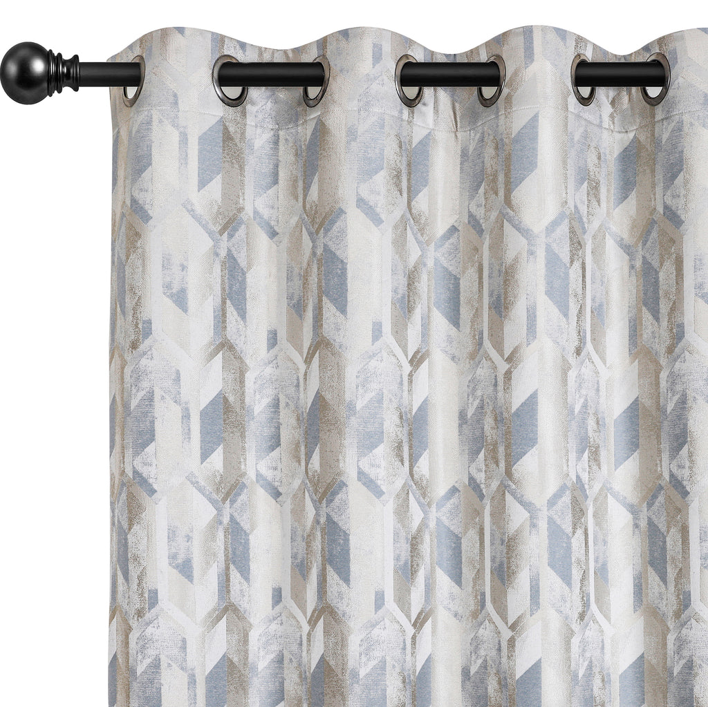 Urban Hues 1 Piece  Window, Door Curtains -(Sky Blue-Trellis)