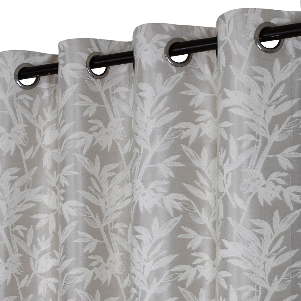 Urban Hues 1 Piece  Window, Door Curtains -(Off White-Palm Monstera)