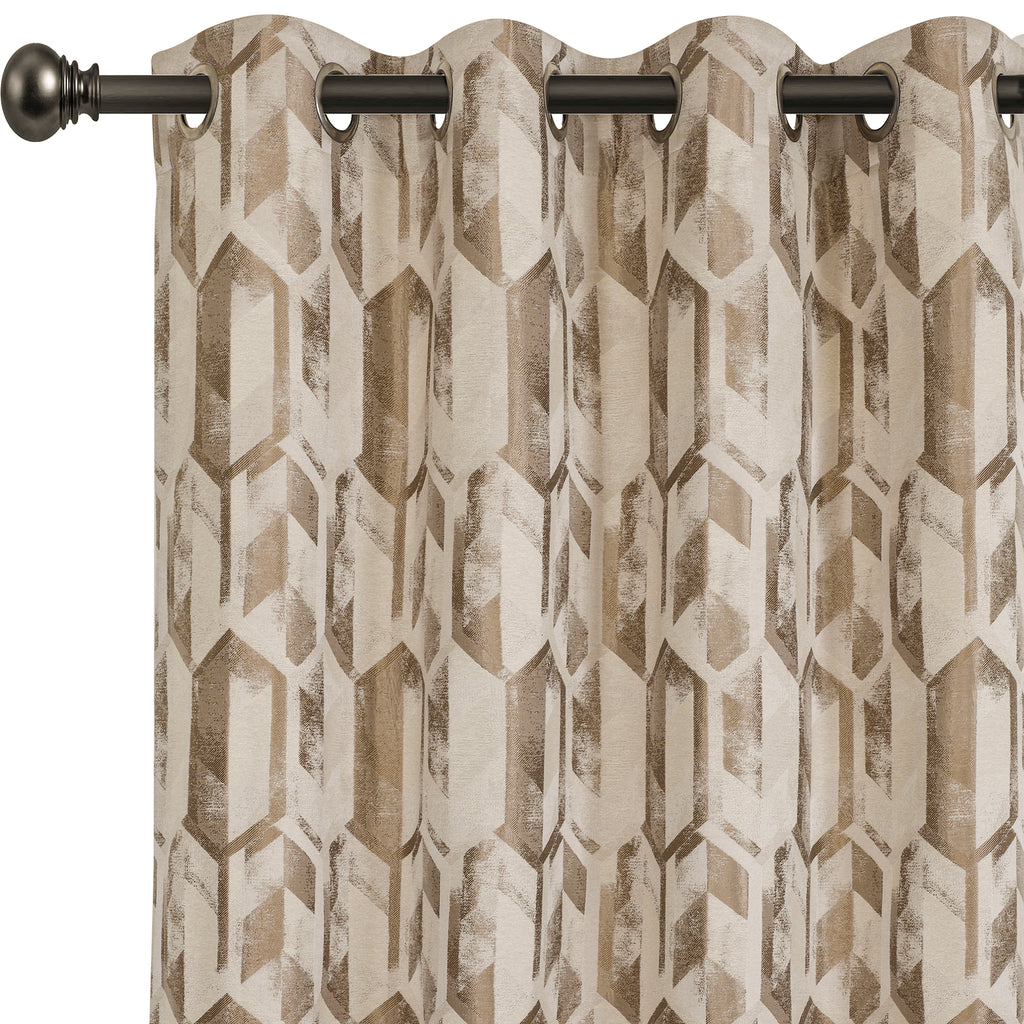 Urban Hues 1 Piece  Window, Door Curtains -(Beige&Light Brown-Trellis)