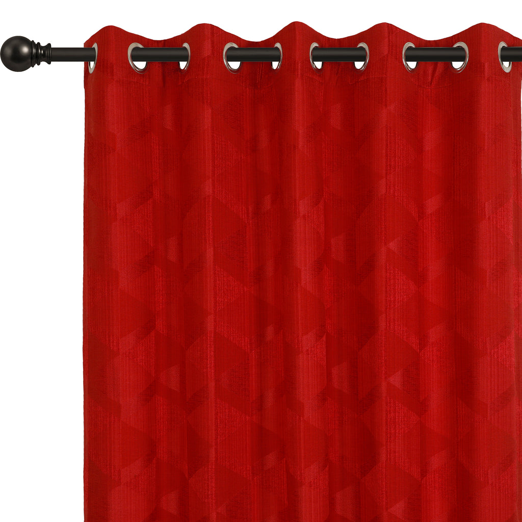 Urban Hues Eyelet Polyester Jacquard Fabric Window, Door Curtain-Red-Canvas
