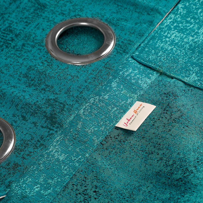 Urban Hues Eyelet Polyester Jacquard Fabric Window, Door Curtain-Turquoise-Distressed