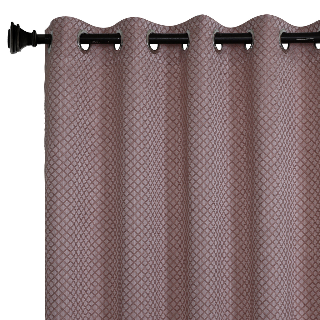 Urban Hues 1 Piece  Window,Door Curtain (Rose Gold-Cross Check)