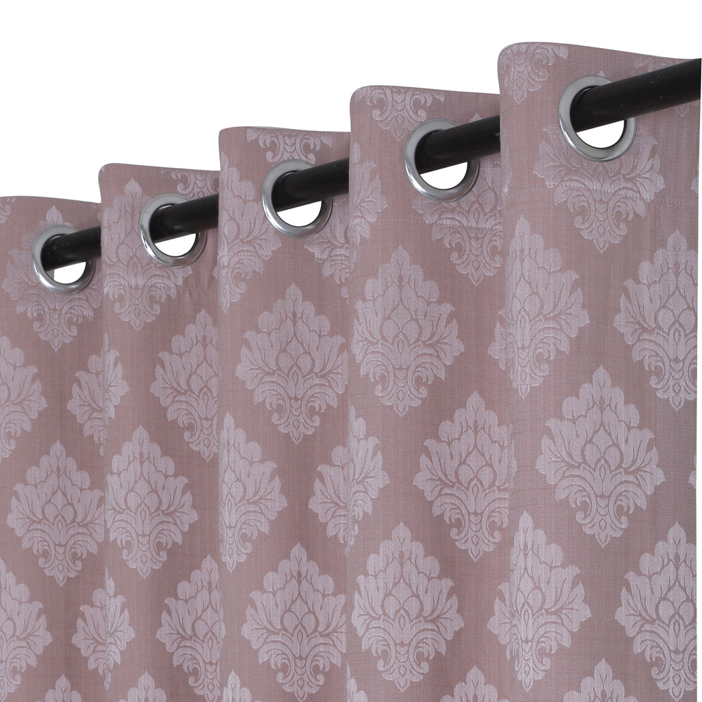 Urban Hues 1 Piece  Window, Door Curtains -(Rose Gold-Floral Damask)