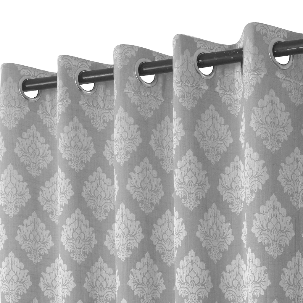 Urban Hues 1 Piece  Window, Door Curtains -(Grey-Floral Damask)