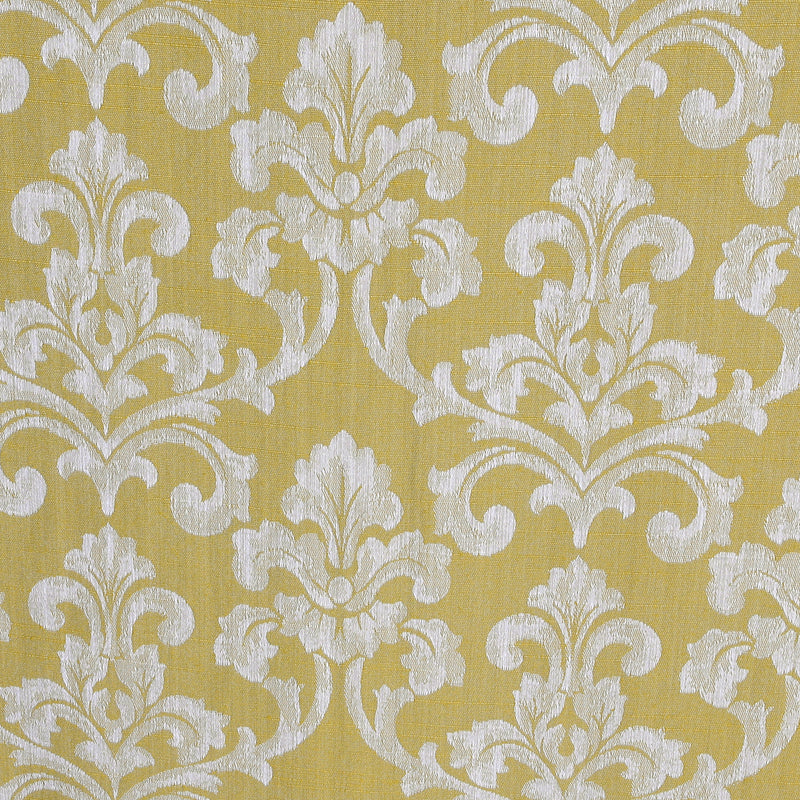 Urban Hues 1 Piece  Window, Door Curtains -(Golden Yellow-Damask)