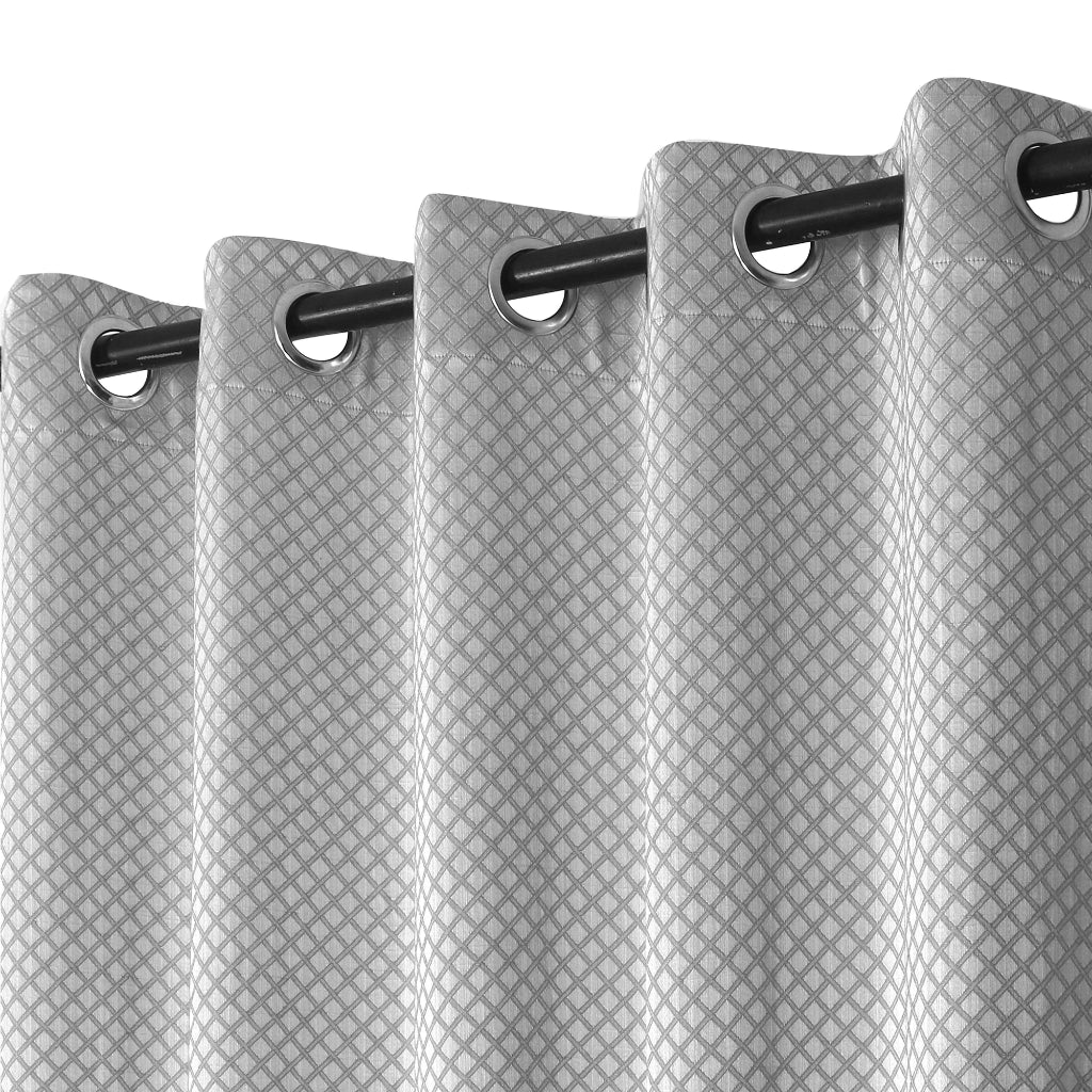 Urban Hues 1 Piece  Window, Door Curtains -(Grey-Cross Check)