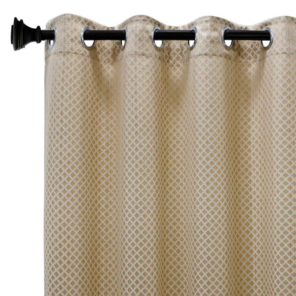 Urban Hues 1 Piece  Window, Door Curtains -(Golden-Cross Check)