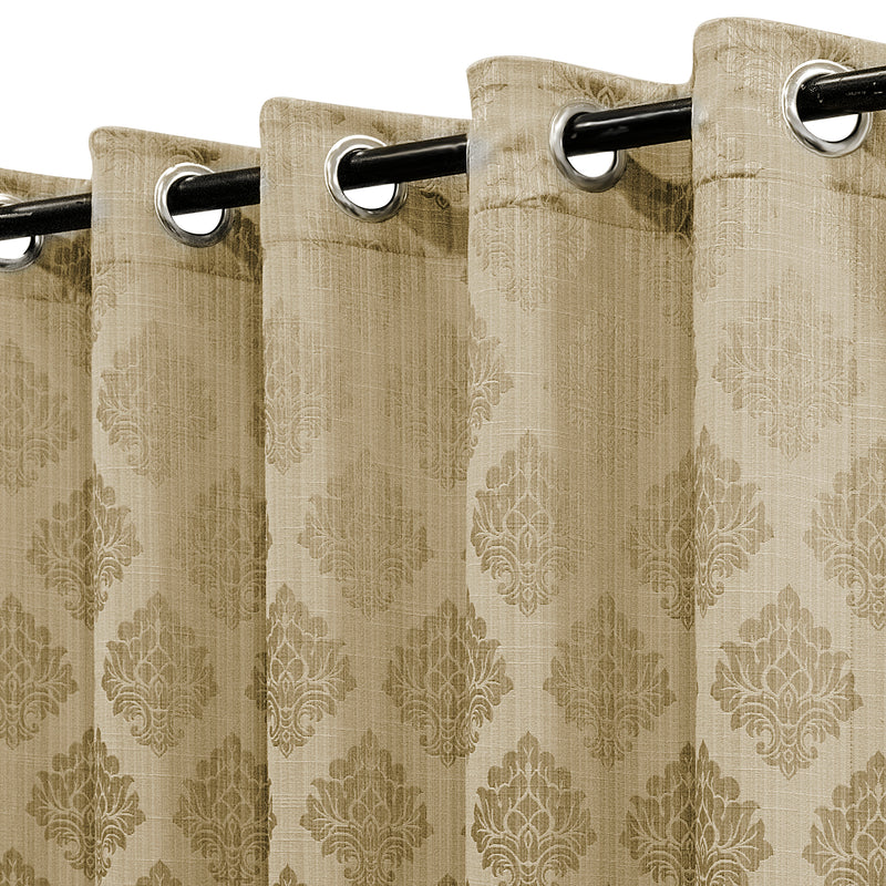 Urban Hues 1 Piece  Window, Door Curtains -(Golden-Floral Damask)