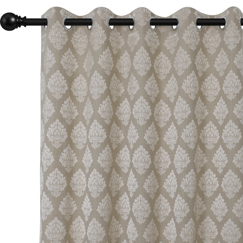 Urban Hues 1 Piece  Window, Door Curtains -(Light Brown&Golden-Floral Damask)