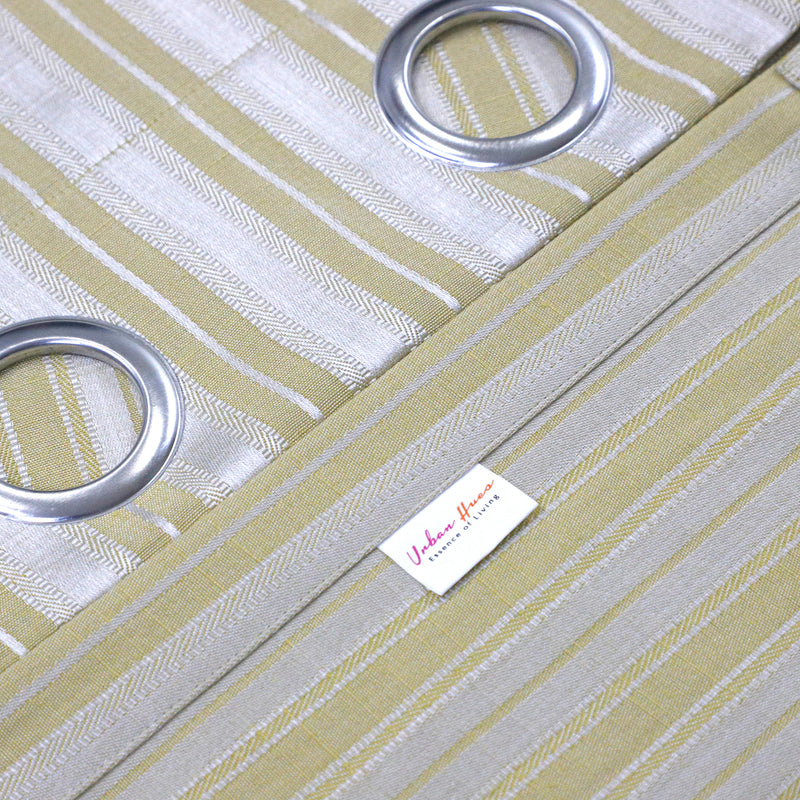 Urban Hues 1 Piece  Window, Door Curtains -(Golden Yellow-Strips)
