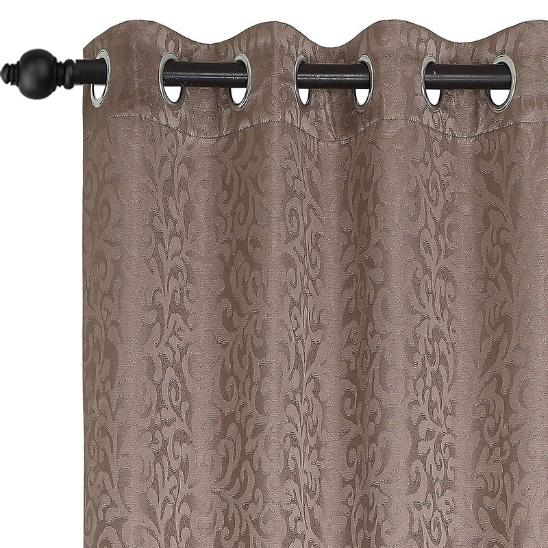 Urban Hues Polyester Jacquard Window, Door Curtains-Brown