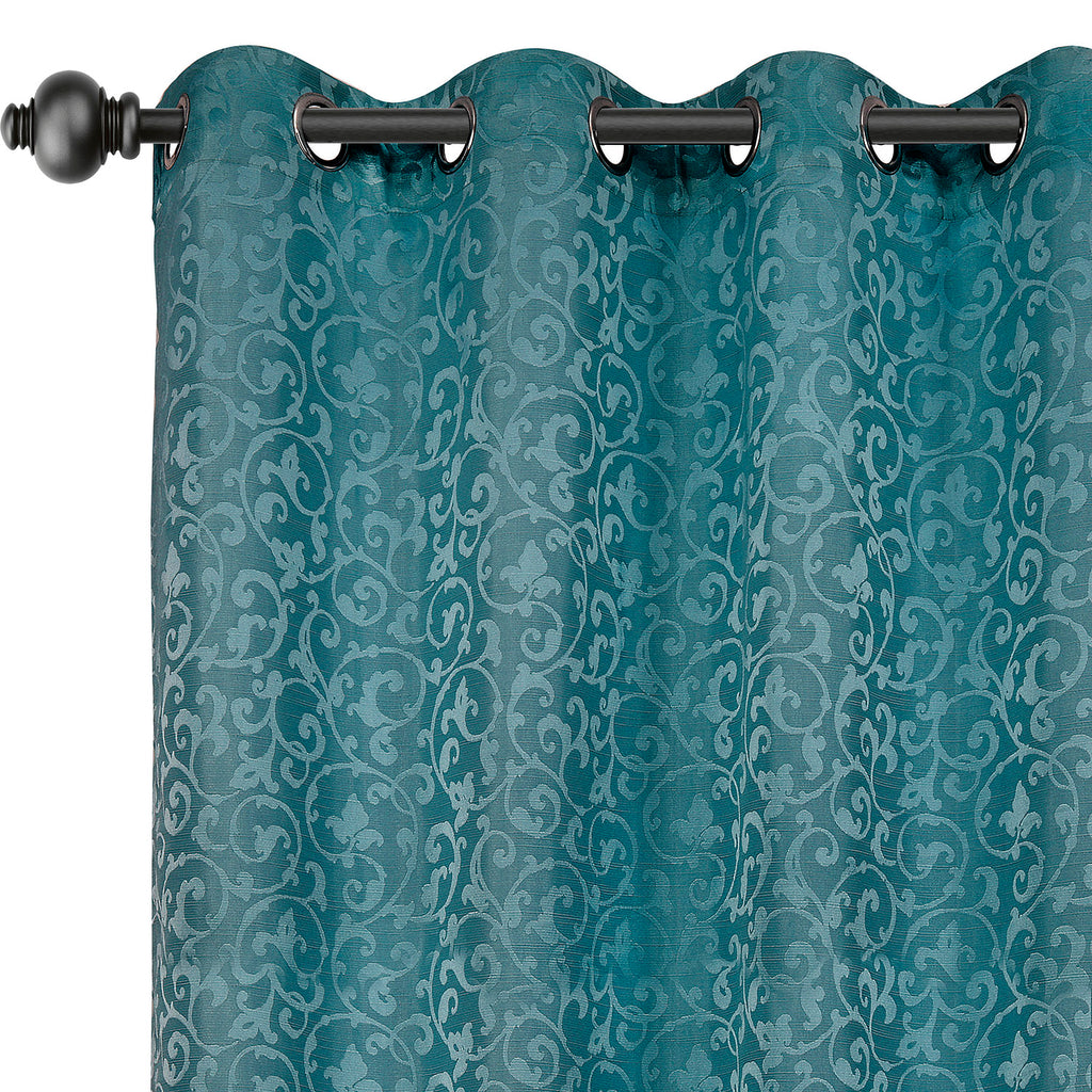 Urban Hues Eyelet Polyester Jacquard Fabric Window, Door Curtains-Turquoise